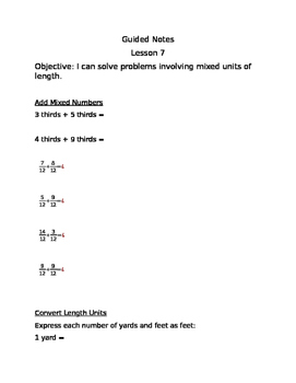 Engage NY Guided Notes Module 7 Lesson 7