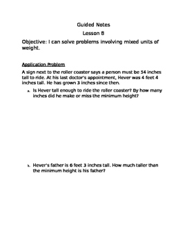 Engage NY Guided Notes Module 7 Lesson 8