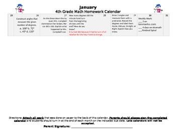Eureka Math/Engage NY January HW Calendar (Module 4)