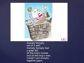 Engage NY Kinder ELA Unit 1 Nursery Rhyme and Fable lesson 9b Humpty Dumpty
