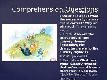 Engage NY Kinder ELA Unit 1 Nursery Rhymes and Fables Lesson 4a Jack and Jill