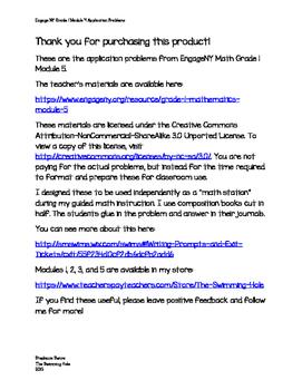 Eureka Math/ Engage NY Math Grade 1 Module 5 Application Problems
