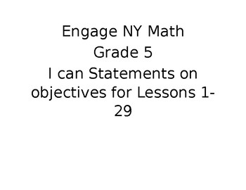 "Engage NY Math Grade 5 ""I Can"" Statements Module 2"
