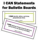 Engage NY Math I CAN Statements for Bulletin Board 4th Gra