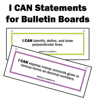 Engage NY Math I CAN Statements for Bulletin Board 4th Grade Module 2