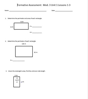 Engage NY Math Mod 3 Lesson 1-3 Formative Assessment