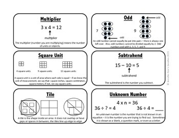 Engaging Math Vocabulary Cards 3.3 & 4: Student Edition