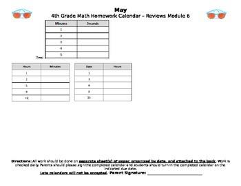 Eureka Math/Engage NY May Homework Calendar (Grade 4 Module 7)
