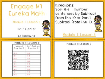Engage NY  Module 1 Lesson 5 - Math Center - Task Cards