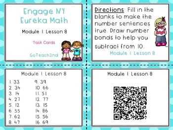 Engage NY/Eureka Math- Module 1 Lesson 8 - Math Centers -Task Cards-Scoot Game