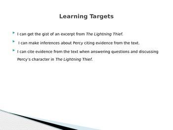 Engage NY Module 1 Unit 1 Lesson 5 The Lightning Thief