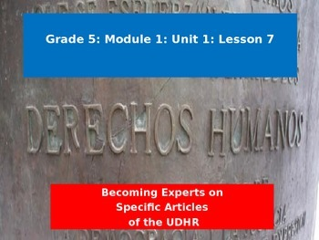 Engage NY Module 1 Unit 1 Lesson 7: Becoming an Expert