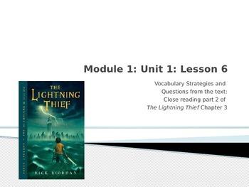 Engage NY Module 1 Unit 1 lesson 6 The Lightning Thief
