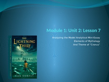 Engage NY Module 1 Unit 2 Lesson 7 The Lightning Thief