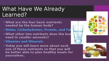 Engage NY:  Module 10 - The Human Body - Lesson 8A:  A Well-Balanced Diet