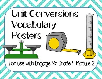 Engage NY Module 2 Grade 4 Measurement Conversions Vocabulary Posters Word Wall
