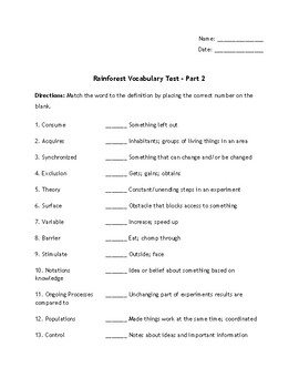 Engage NY - Module 2A {Rainforest Vocabulary Assessment}