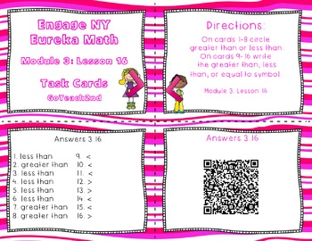 Engage NY- Eureka Math  Module 3 Lesson 16 Math Centers - Task Cards