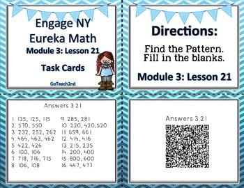 Engage NY /Eureka Math  Module 3  Lesson 21 Math Centers - Task Cards