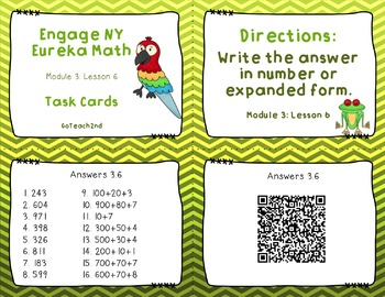 Engage NY  Module 3  Lesson 6  Math Center - Task Cards