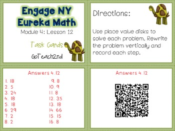 Engage NY/Eureka Math  Module 4: Lesson 12- Math Center-Task Cards- Scoot Game