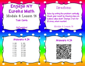 Engage NY/Eureka Math  Module 4 Lesson 14 - Math Center -Task Cards - Scoot Game