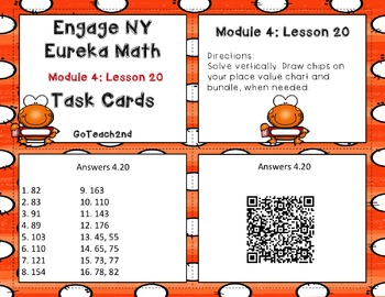 Engage NY Eureka Math Module 4 Lesson 20 - Math Centers -Task Cards - Scoot Game