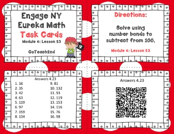 Engage NY Eurkea Math Module 4 Lesson 23  Math Centers - Task Cards - Scoot Game