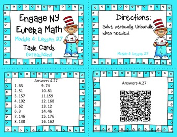 Engage NY Eureka Math Module 4 Lesson 27 - Math Centers - Task Cards -Scoot Game