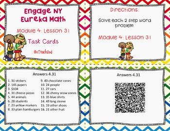 Engage NY  Eureka Math Module 4 Lesson 31 Math Centers - Task Cards - Scoot Game