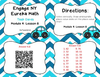 Engage NY/Eureka Math   Module 4 Lesson 8 Math Centers - Task Cards - Scoot Game