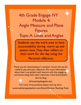 Eureka Math/Engage NY Module 4 Topic A Station Guide and Reflection Sheet