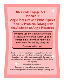 Eureka/Engage NY Module 4 Topic C Station Guide and Reflection Sheet