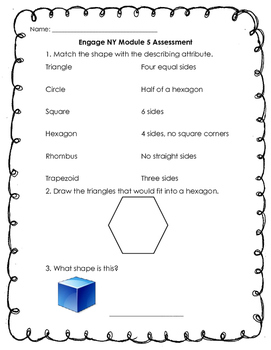 Engage NY Module 5 Test First Grade
