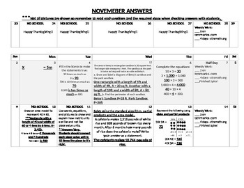 Eureka Math/Engage NY November Homework Calendar (Grade 4 Mod 3)