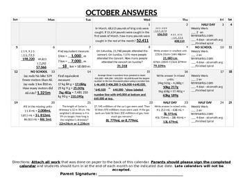 Engage NY October Homework Calendar (Grade 4 Mod 2 and 3)