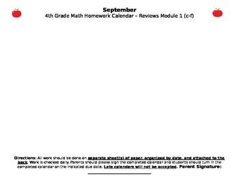 Eureka Math/Engage NY September Homework Calendar (Grade 4 Module 1)