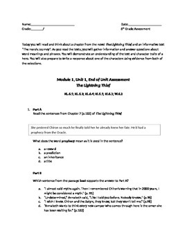 Engage NY PARCC Test--Module 1, Unit 1, End Unit Assessment