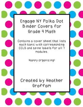Engage NY Polka Dot Binder Covers - Grade 4 Math