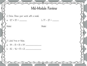 Engage NY 2015 Second Grade Math Module Four Review Pack and Game