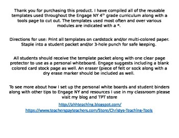 Eureka Math/Engage NY Student Template Packet
