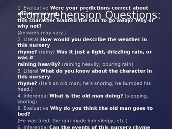 Engage NY Unit 1 Nursery Rhymes and Fables Lesson 2b Its Raining, Its Pouring