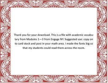 Engage NY Vocab Modules 1-3