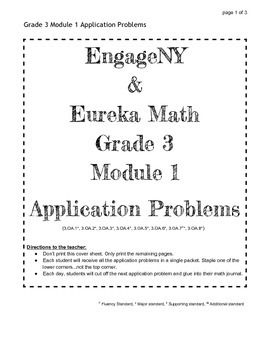 EngageNY and Eureka Math Grade 3 Application Problems for ALL MODULES