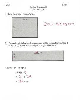Engage New York Math Alternative Exit Ticket Worksheets Grade 3, Module 4