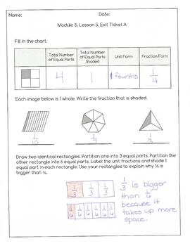 Engage New York Math Alternative Exit Ticket Worksheets: Grade 3, Module 5