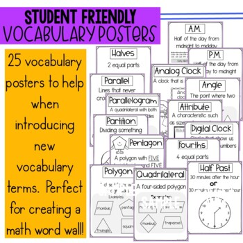 Engage New York/Eureka 2nd Grade Module 8 parent letters, games & vocab. posters