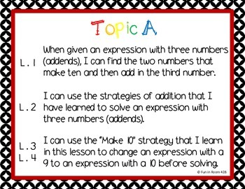"Engage New York / Eureka Math Mod 2 ""I can"" Statements {1st grade}"