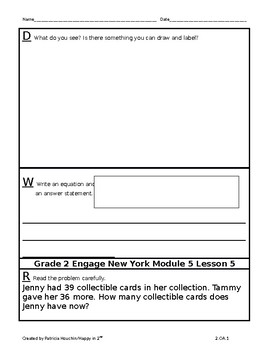 Engage New York Grade 2 Module 5 Application Problems-RDW