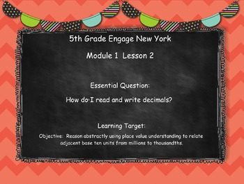 Engage New York (Eureka) Math Grade 5-Module 1 Lesson 2 SMART Notebook